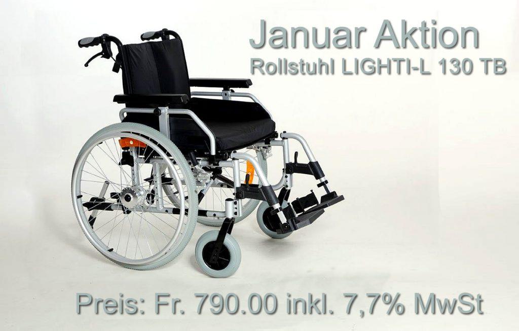 "Januar Aktion bei Rehab GmbH, Wallisellen – ""Rollstuhl LIGHTI-L 130 TB"""