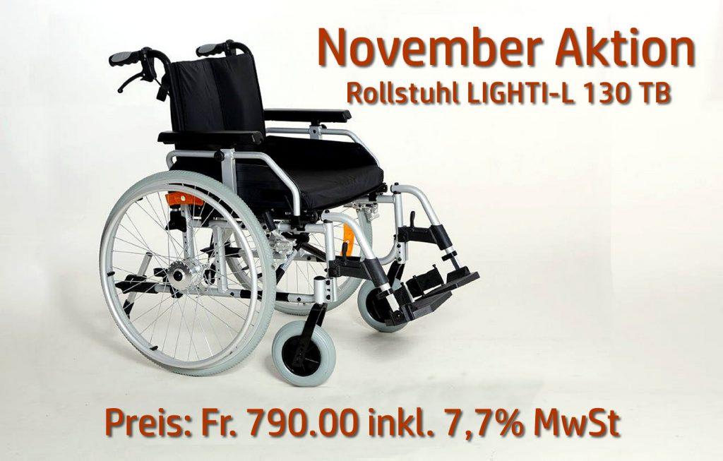 "November Aktion bei Rehab GmbH, Wallisellen – ""Rollstuhl LIGHTI-L 130 TB"""